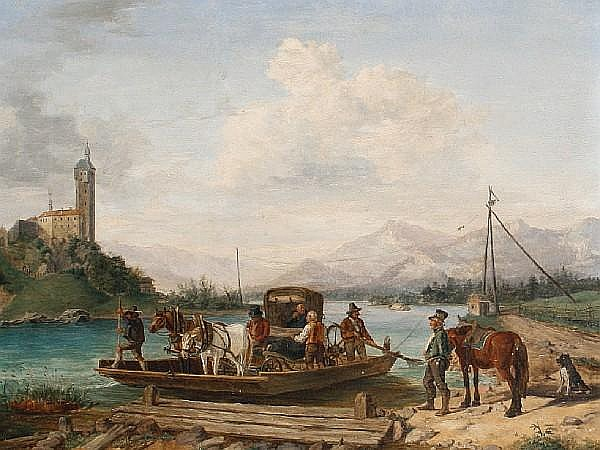 Attributed to Anton (II) Altmann (Austrian, 1808-1871) The ferry crossing