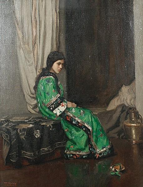 Charles H.H. Burleigh (British, 1875-1956) Portrait of a girl in Oriental dress