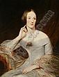 Follower of Richard Buckner (British, 1812-1883) Portrait of a young lady in a grey dress, Richard Buckner, Click for value