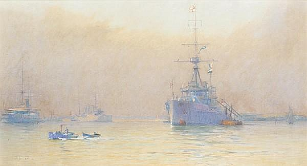 Alma Claude Burlton Cull (British, 1880-1931) In the harbour at Portsmouth, with a Vice-Admiral's flagship preparing to sail