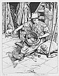 Stanley Anderson (British, 1884-1966) The Farm Hand Etching, on laid, signed and inscribed 'Ed 50' in pencil, 192 x 150mm (7 1/2 x 5 4/5in)(PL), together with two others by the same hand, 'The Smith', on wove, 'Three Good Friends', on laid, both, Stanley Anderson, Click for value