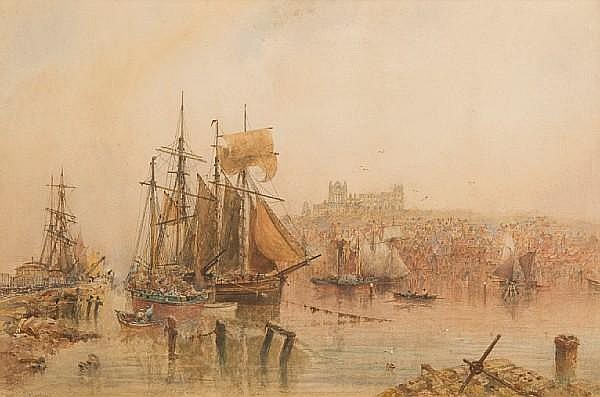 George Weatherill (British, 1810-1890) Whitby harbour scene