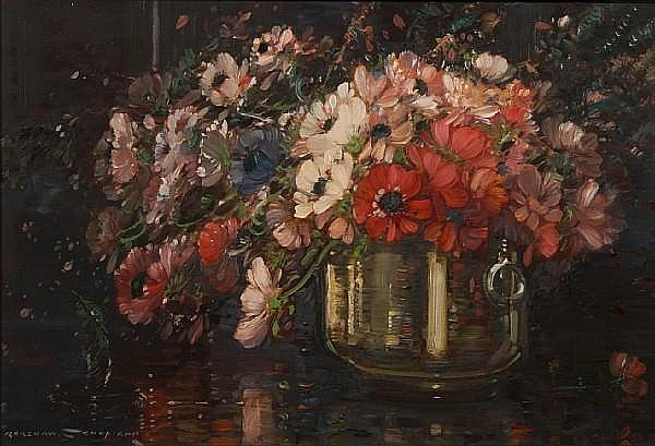 Kershaw Schofield (British, 1872-1941) Summer flowers in a vase