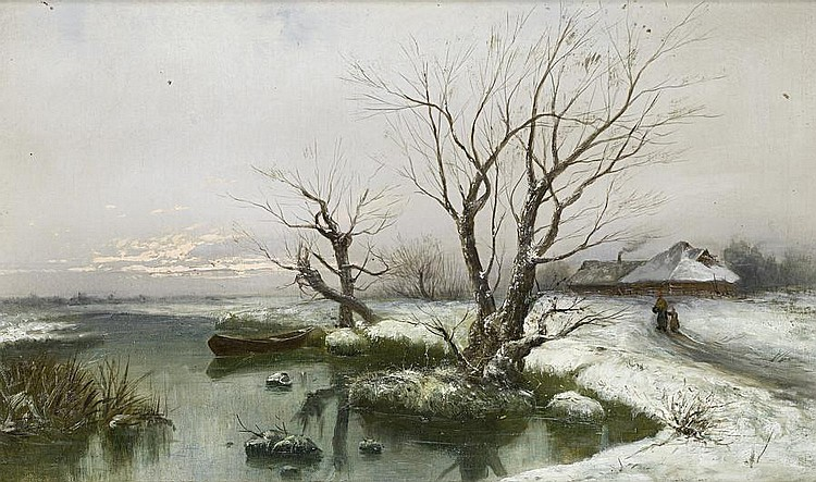 Yuli Yulievich Klever (Russian, 1850-1924), and Studio The snowy banks of the river