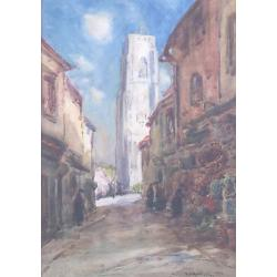 Thomas William Morley,Continental Street Scene,signed and dated '21, watercolour,37 x 25.5cm.