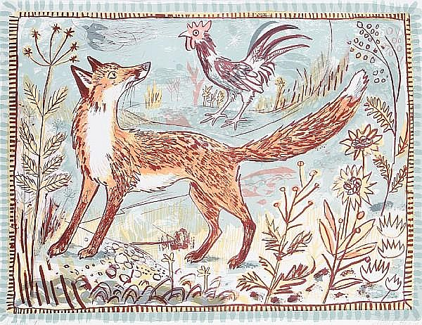 Mark Hearld (British, born 1974) Fox; Pisanello's Hare Two lithographs in colours, 2005-2008, signed, dated, and inscribed 'archive 1' in pencil, the full sheets printed to the edges, 565 x 748 mm (22 1/4 x 29 1/2 in) (SH) (unframed) (2)