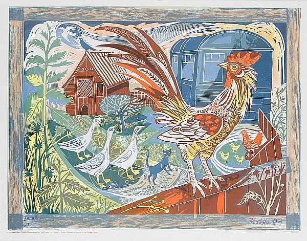 Mark Hearld (British, born 1974) Rooster & Railway Carriage; Smallholding Two lithographs in colours, 2009, signed, dated and inscribed 'archive 1' in pencil, with full margins, various sizes (unframed) (2)