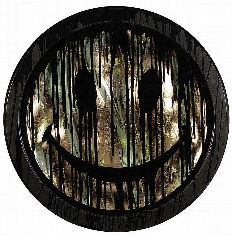 Ryan Callanan (RYCA) (British, born 1981) Acid Head Dripping signed, titled and numbered 2/2 on the reverse carved wooden panel with patinated copper leaf and enamel paint in an integral black-painted frame Diameter: 57 cm. 29 1/2 in.