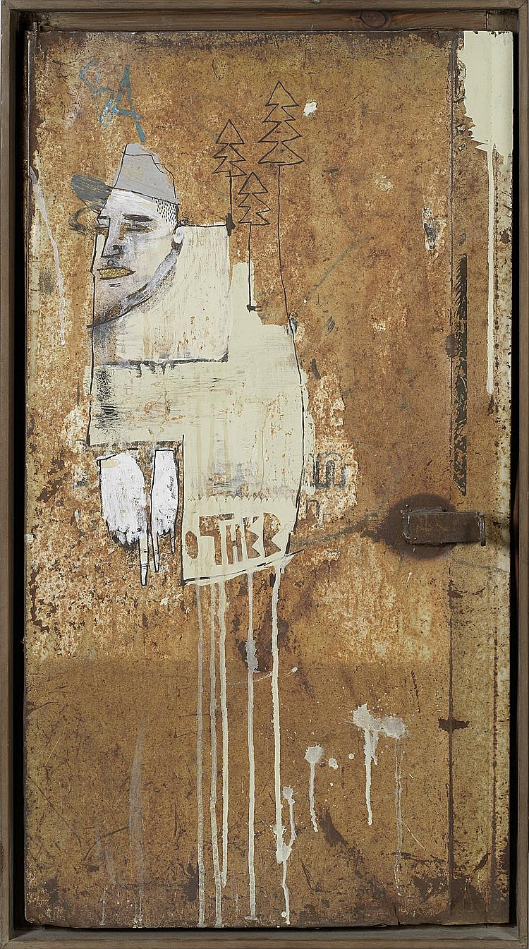 Word to Mother (British) We Buy Gold signed in spray paint on the reverse mixed media on salvaged metal door 88 by 47 cm. 34 5/8 by 18 1/2 in. This work was executed in 2008.