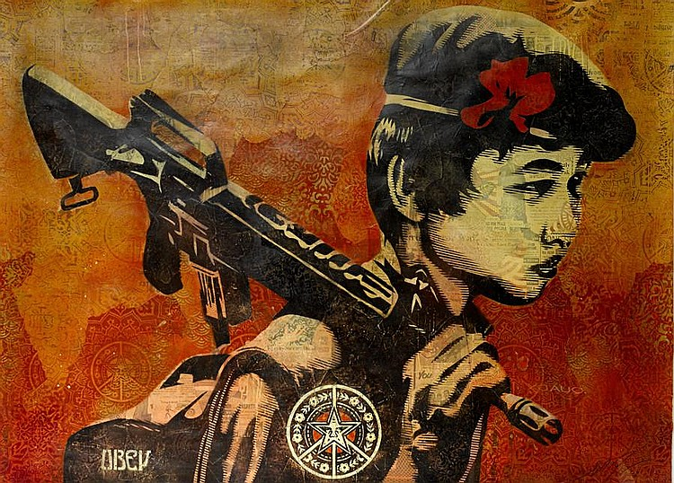 Shepard Fairey (b.1970) Duality of Humanity 2 mixed media on paper Image: 110 by 151 cm. 43 5/16 by 59 7/16 in. This work was executed in 2008.
