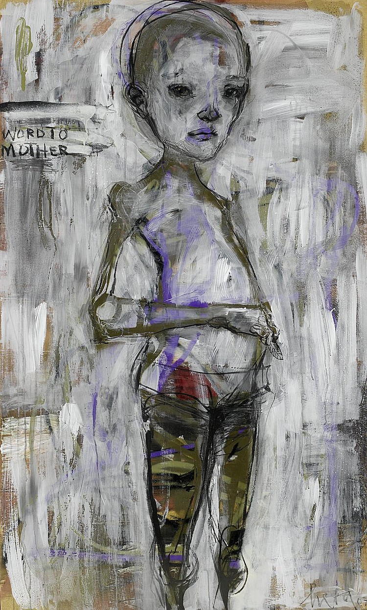 Herakut (German) Word to Mother signed, titled and dated 2008 acrylic on board 136 by 82 cm. 53 9/16 by 32 5/16 in.