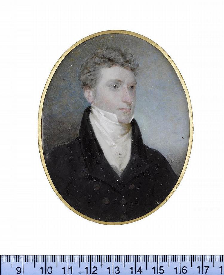 Frederick Cruickshank (British, 1800-1868) John Smith of Belvedere, wearing dark blue coat with black collar, cream waistcoat, chemise, stock, cravat and shirt pin