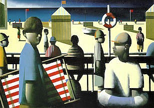 AR Stephen Mangan (British, born 1964)  Beach scene with striped deckchair