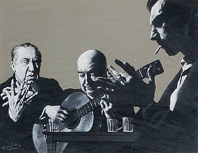 Jose Manuel Capuletti (Spanish 1925-1978) Triple portraits of the artist, Pépé de la Matrona and Ramon Mantoyo, (flamenco guitarists)