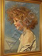 Anna Louisa Robinson Swynnerton (British, 1844-1933) Portrait of a young girl with curly hair, bust length, Annie Louisa Swynnerton, Click for value