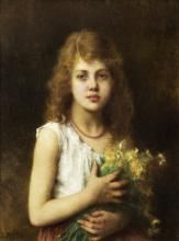 Alexei Alexeevich Harlamoff (Russian, 1840-1925) Young girl with a bunch of marguerites