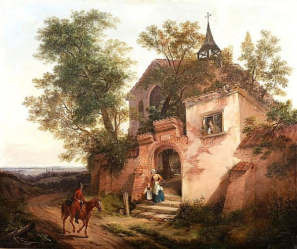 Siegfried Detlev Bendixen (German, 1786-1864) A mother and child at the gate of a country church, with a traveller on a horse on the road.