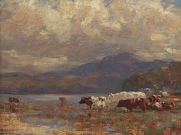 Andrew Douglas (British, 1871-1935) Cattle in a highland landscape
