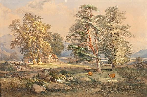 James Ferrier (British, born circa 1840-died circa 1900) Highland landscape, with figures and cattle by a croft