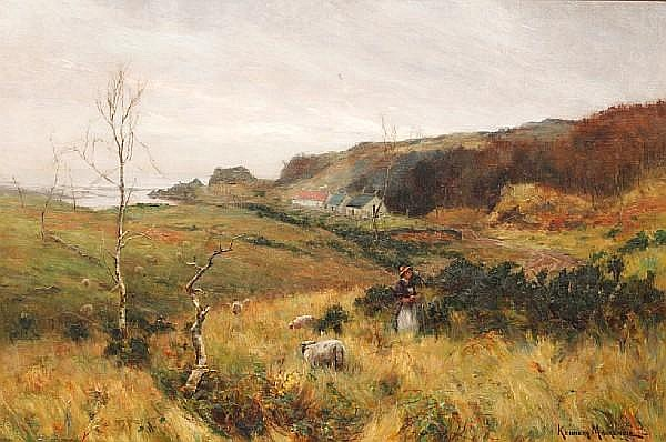 Kenneth MacKenzie (British) A coastal hamlet, with a girl tending sheep to the foreground