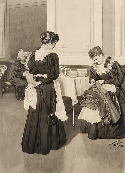 Max Flashar (German, 1855-1915) Maids in a restaurant interior 50 x 36cm.