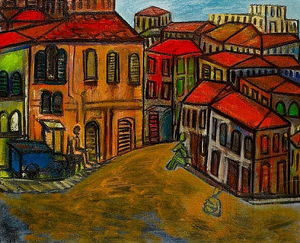 Avraham Ofek (Israeli, 1935-1990) Neighbourhood in Jerusalem