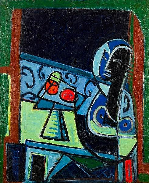 Pinchas Abramovich (Israeli, 1909-1986) Still life with sculpture