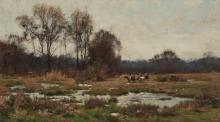 Hugh Bolton Jones (American, 1848-1927) Cattle watering in an autumnal landscape 13 1/2 x 24in (40.7 x 34.3cm)