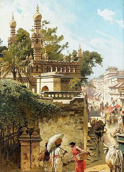Woldemar Friedrich (German, 1846-1910) Street scene in Hyderabad, Pakistan