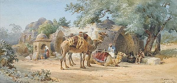 Nathaniel Everett Green (British, 1823-1899) Rest stop near Jaffa