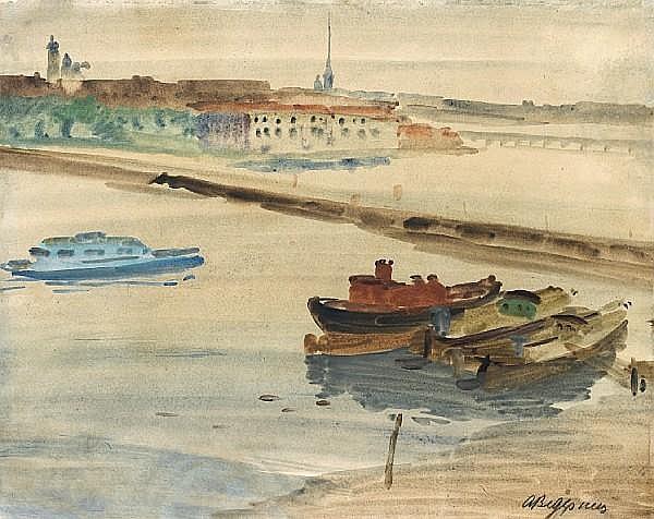 Aleksandr Semenovich Vedernikov (Russian, 1898-1975) Barges on the Neva unframed