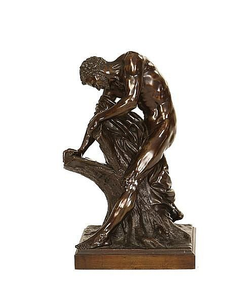 After Edmé Dumont, French (1722-1775) A 19th century French bronze model of Milo of Croton