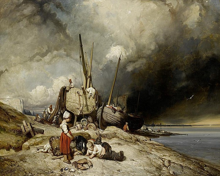 Eugene Modeste Edmond Lepoittevin (French, 1806-1870) Fishermen and boats on the Normandy coast with children in the foreground