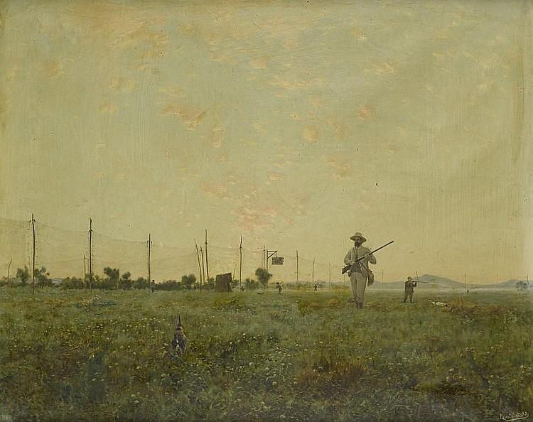 Eduardo Monteforte (Italian, 1849-1933) Scena di caccia nella campagna