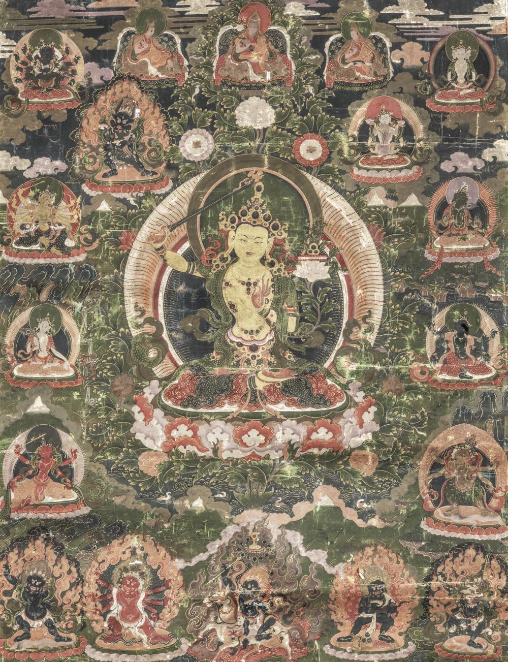 A THANGKA OF MANJUSHRI Tibet, Gelug, 18th/19th century