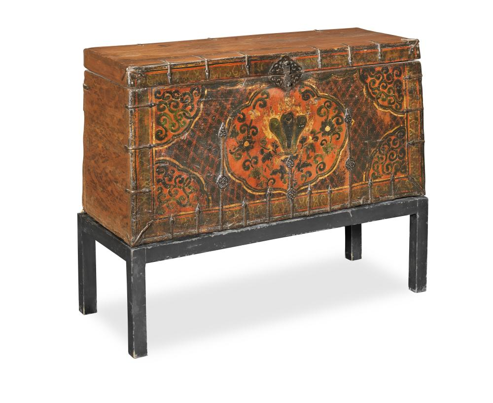 A 'LOTUS' STORAGE CHEST AND STAND Tibet, 18th/19th century (2)