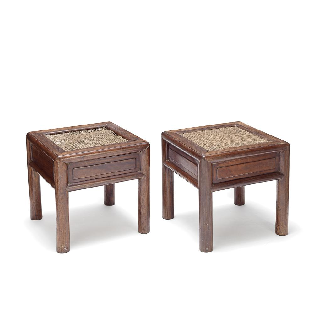 A PAIR OF HUANGHUALI CORNER-LEG STOOLS WITH DRAWERS, FANGDENG Qing Dynasty (2)
