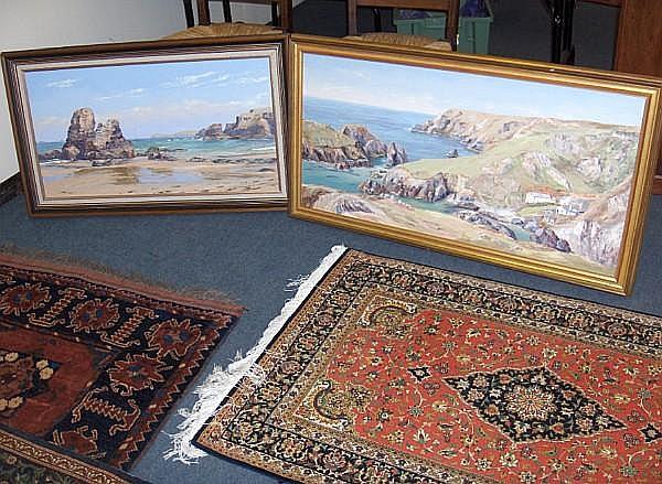 Nancy Bailey (Cornish) Kynance Coast and Porth Owthan to Trevose pair 45 x 90cm.