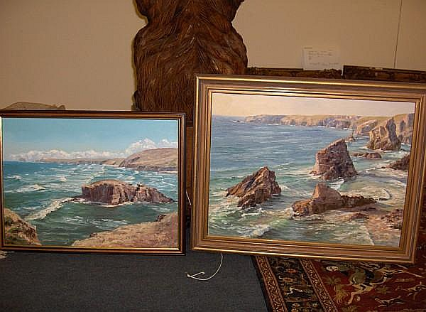 Nancy Bailey (Cornish) Chaple Rock, Perranporth and Bedruthan, Summers evening pair, 45 x 60cm.