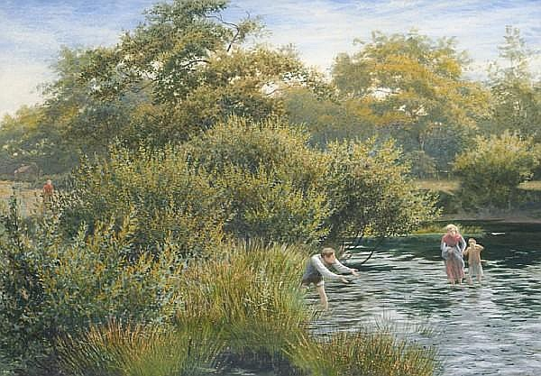James Barnes (British, active 1870-1901) Crossing the Stream,