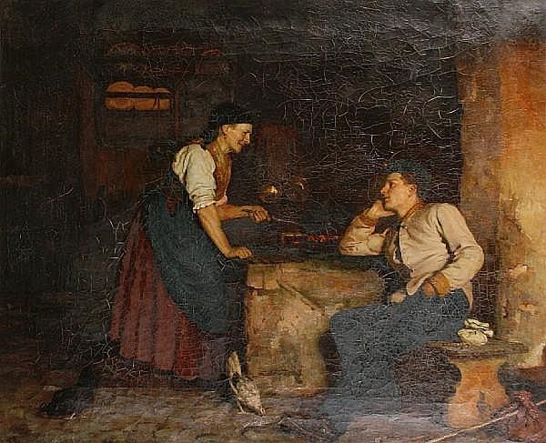 Gabriel von Hackl (German, 1843-1926) A visit home