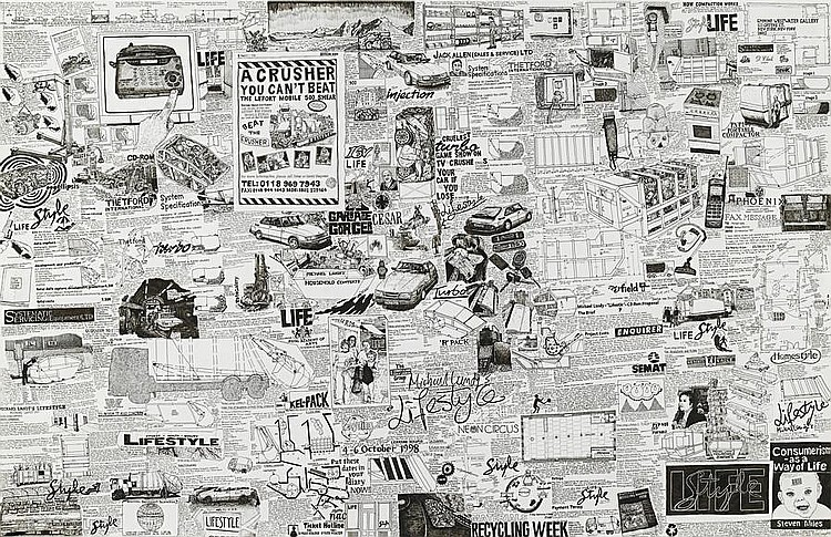 Michael Landy (b.1963) A Commodity is an Ideology made Material 1998 signed and dated 1998 ink on paper 82 by 127 cm. 32 5/16 by 50 in.