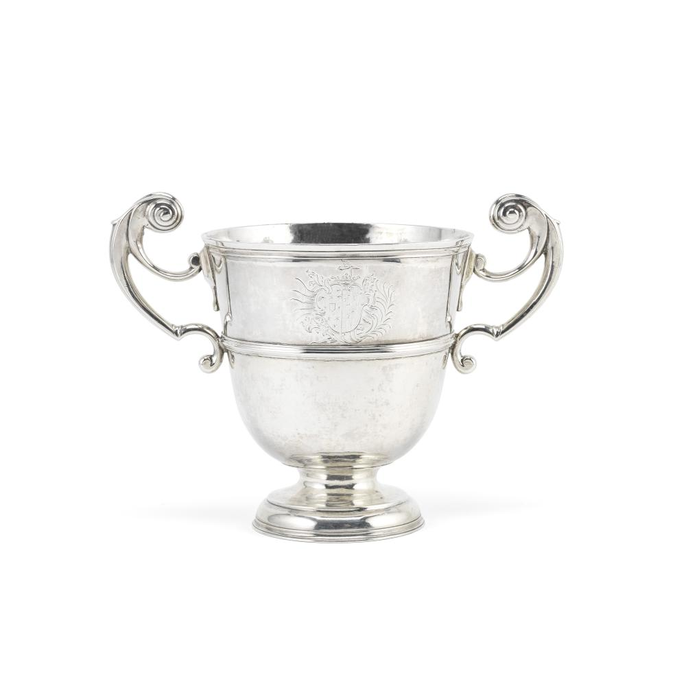 An 18th century Irish provincial silver two-handled cup William Clarke, Cork 1720, maker's mark struck twice and STERLING to rim and once to the underside