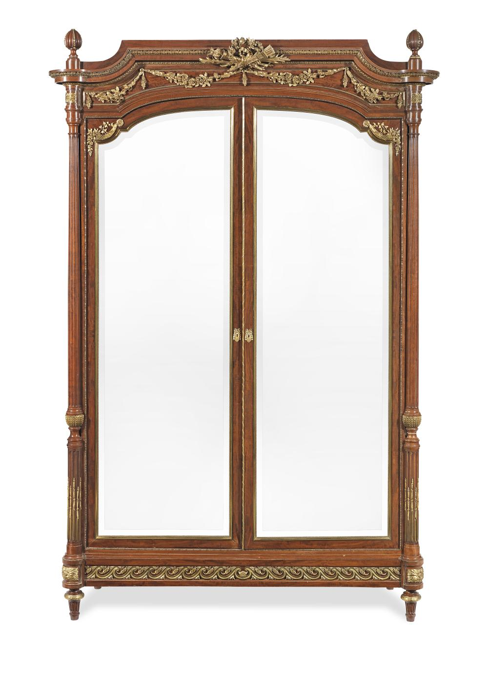 A French late 19th century ormolu mounted mahogany armoire in the Louis XVI style possibly by Francois Linke