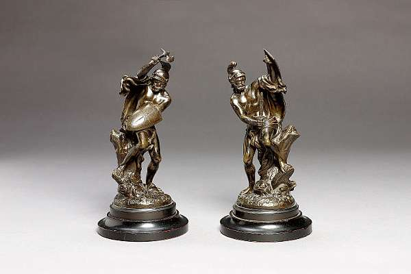 Jean Bulio (French 1827-1911): A pair of bronze figures of classical warriors