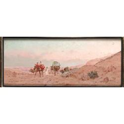Eugène Deshayes, (French, 1828-1890) The caravan 9 x 22 in. (23 x 56 cm.)