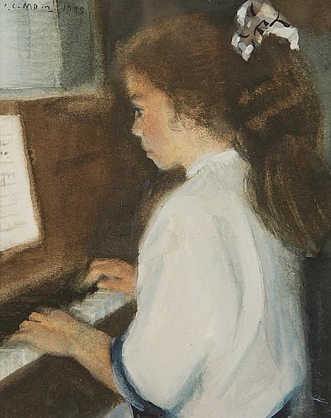 I. Lesley Main (British, born 1959) Olivia playing the piano