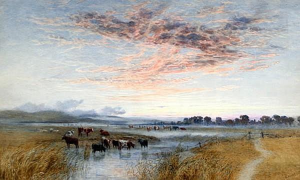 Augustus Walford Weedon (British, 1838-1908) 'Evening after Rain, Pevensey'