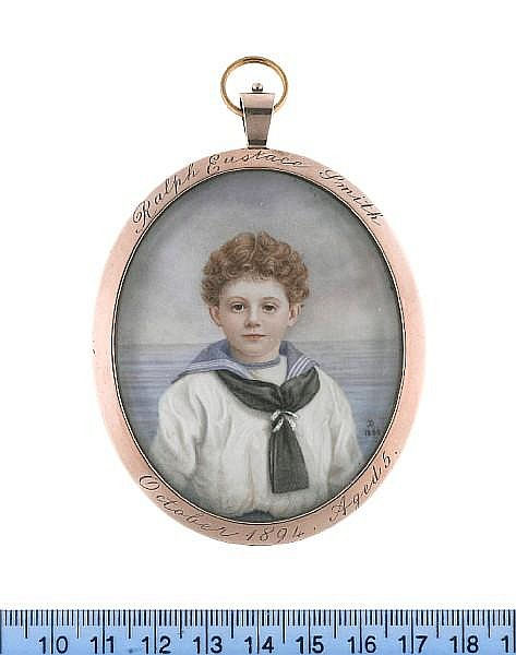 Mrs Janet A. Boyd (British, active 1895-1906) Ralph Eustace Smith (1890-1918), wearing white sailor's chemise with blue collar, matching white under-shirt with blue borders to the neckline, black scarf tied with white ribbon at his chest, blue