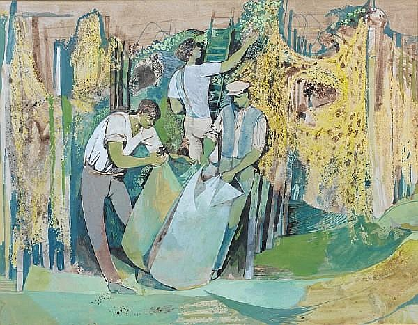 John Minton (British, 1917-1957) The Hop Pickers 26 x 33.5 cm. (10 1/4 x 13 1/4 in.)
